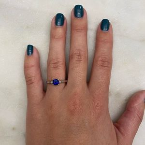 Sapphire and Diamond ring in sterling silver
